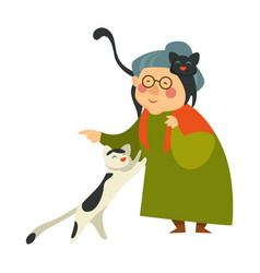 old woman with cats senior person caring for pets vector image