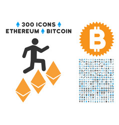 person climb ethereum flat icon with set vector image