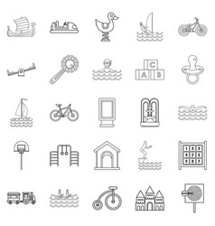 Physical training icons set outline style vector