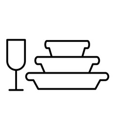Pile plates and glass thin line icon stemware vector