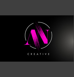 pink an brush stroke letter logo design vector image