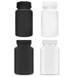 Plastic supplement package vitamin pill jar 3d vector