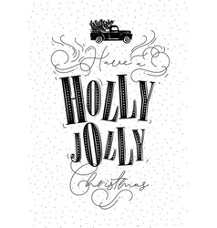 poster holly jolly christmas vector image