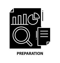 Preparation icon black sign with editable vector