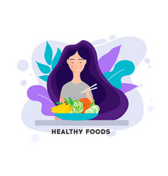 pretty girl with healthy food eating healthy food vector image