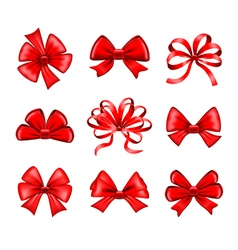 red bows set vector image