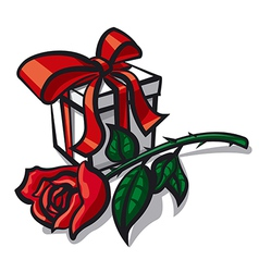 rose and gift vector image