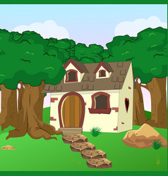 rural cartoon forest cabin landscape vector image