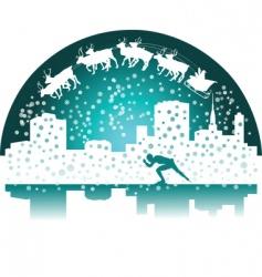 Santa and skater vector image
