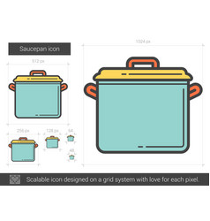 Saucepan line icon vector