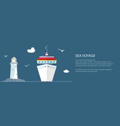 Sea voyage travel banner vector
