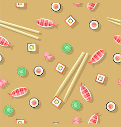 Seamless pattern with fish wasabi sushi sticks vector