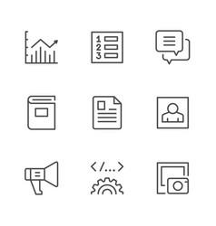 set line icons web content vector image