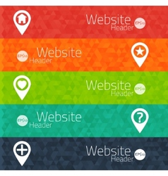 Set of abstract triangle banners for websites user vector
