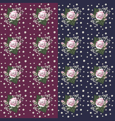 set of seamless flower pattern vector image vector image