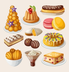 set traditional french desserts vector image