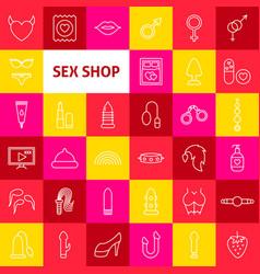 Sex shop line icons vector