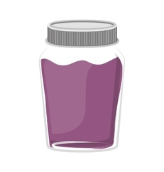 Silhouette jar of purple jam with lid vector