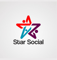 star social logo icon element and template vector image