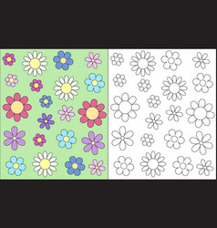 stylized outline flower head spring child vector image