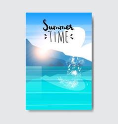 summer time beach landscape badge design label vector image
