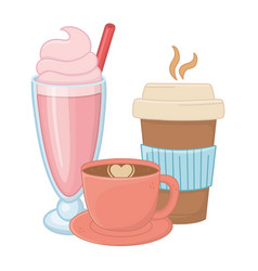 Sweet and delicious drinks design vector