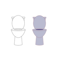 toilet and outline isolated on white background vector image