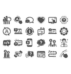 Ux icons set ab testing journey path map and vector
