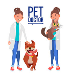 veterinarian woman dog and cat clinic for vector image