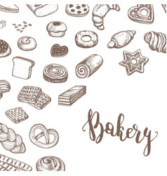 Vintage bakery products sketch background vector