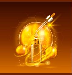 Vital serum golden dropper bottle vector