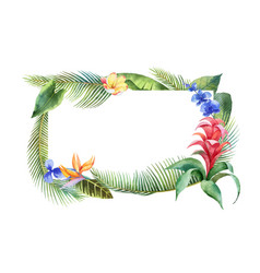 Watercolor banner with tropical leaves and vector