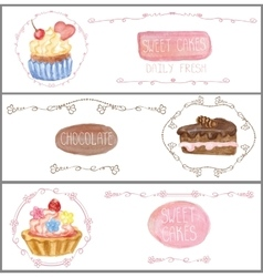 Watercolor sweet cakes tags labels Banners set vector