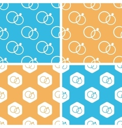 Wedding rings pattern set colored vector