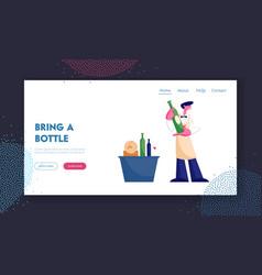 Wine degustation website landing page man vector