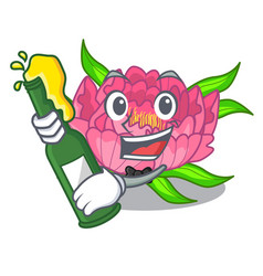 With beer peony flower grow in mascot stems vector