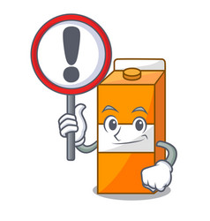 with sign package juice character cartoon vector image