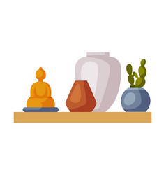 wooden shelf with potted plant and vases vector image