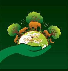 world wildlife day poster design vector image