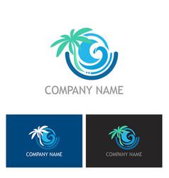 beach palm tree ocean logo vector image
