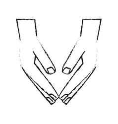 black blurred silhouette cartoon human hands down vector image