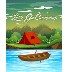 Camping ground with tent and boat vector image vector image