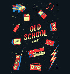 old school elements set retro and disco vector image vector image