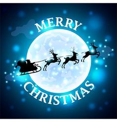 Santa reindeer silhouette on moon background vector image vector image