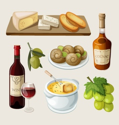 Set of traditional french drinks and appetizers vector image vector image