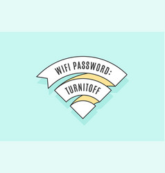 Vintage ribbon wifi sign for free wi-fi in cafe or vector