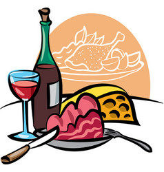 dinner with wine vector image vector image