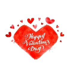 happy Valentine day hand lettering - handmade vector image vector image