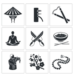 Martial Arts Icons Set vector image