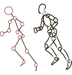 Sketch Running Person vector image vector image